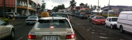 School and work commute traffic jam at Four Mile, Suva, Fiji