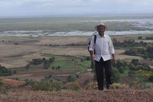 Best-dressed field assistant Herizo, view of Lake Alaotra near Andreba-Gara