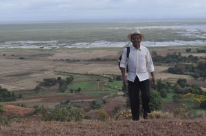 Best-dressed field assistant Herizo, view of Lake Alaotra near Andreba-Gara
