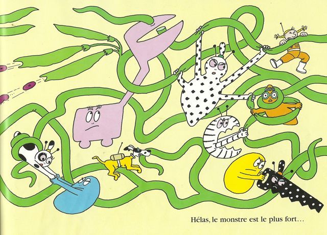 The Barbapapas fight a feral giant bean brought by Barbidur to Mars