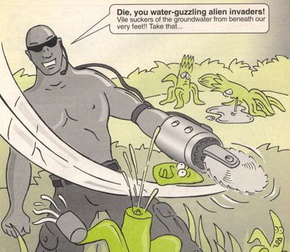 The South African approach to alien plants.  Cartoon from environmental education material collected in 2006 (thanks to Rémy Kinna).