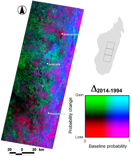 Figure 2 from the McConnell et al. (2015) article in LAND.  Spatial distribution of the temporal dynamics of woody cover in the study area over a 20-year period (i.e., 1994–2014).